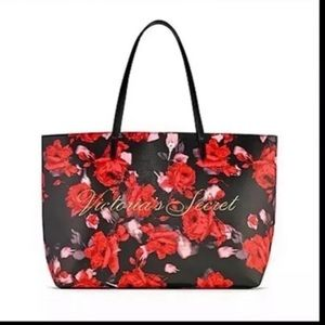 VICTORIAS'S SECRET Large Black Floral Tote